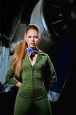 Young woman aviator — Stockfoto