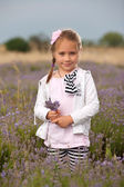 Girl and lavender  — Stock Photo