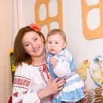 Family in Ukrainian national costumes — Stock Photo
