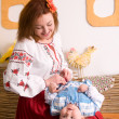 Family in Ukrainian national costumes — Stock Photo #12672754