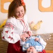 Stock Photo: Family in Ukrainian national costumes