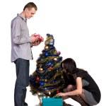 Men and women decorates the Christmas tree — Stock Photo #16209323