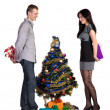 Man and the girl exchange gifts — Stock Photo