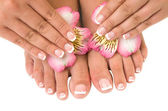 Nail care for women's hands and feet — Stock Photo