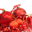 Red Christmas baubles — Stock Photo #7976604