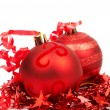 Red Christmas baubles — Stock Photo #8067939