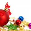 Colorful Christmas baubles and star — Stock Photo #8067956