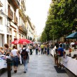 street market in a street of girona — Stock Photo