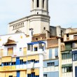 Fronts building colourists with belfry cathedral of Girona — Stock Photo #12088981