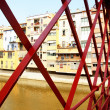 Metallic red bridge - Stock Photo