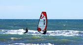 Kitesurf on the waves — Stock Photo