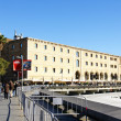 Panoramic of the wharf and the Palau of the Mar — Stock Photo