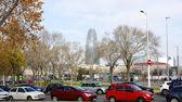 Panorâmica dos jardins do meio marinho, rua com torre agbar — Fotografia Stock