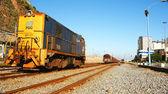 Machine diesel train in the port — Foto Stock
