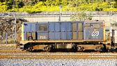 Machine diesel train in the port — Stock Photo