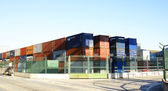 Containers of goods at the port — Stock Photo