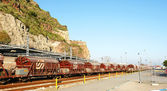 Goods train in the port — Stock Photo