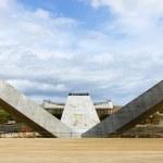 Beams for the construction of a bridge over the river Llobregat — Stock Photo #30482445