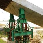 Beams for the construction of a bridge over the river Llobregat — Stock Photo #30482951