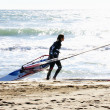 Practice kitesurf on the beach — Stock Photo
