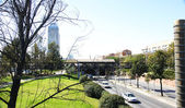 Garden and Ronda del Litoral highway — Stock Photo