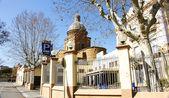 Barcelona Street with Church of San Andrés de Palomar at the bottom — Stock Photo
