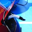 Charging an electric car at the Barcelona Motor Show, 2013 — ストック写真
