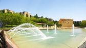 Fountain pond in the gardens of the Plaza de ca N'Enseya — Stock Photo