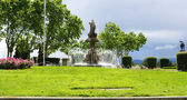 Ornamental fountain in a roundabout on the mountain of Montjuic — Stock Photo