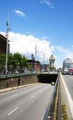 Blick auf die Allee der Gran Via in Barcelona — Stockfoto
