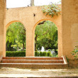 Ornamental building with arches in gardens of Montjuic mountain — Stok fotoğraf