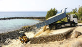 Refurbishment of a beach in Lanzarote — Stock Photo