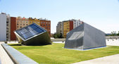 Concrete cubes in the gardens of the Museum of Design — Stockfoto