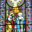Stock Photo: Glass windows and decorated inside Basilicof Our Lady of Montserrat