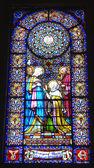 Fenêtres en verre et décoré à l'intérieur de la basilique de notre dame de montserrat — Photo