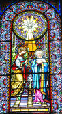 Glass windows and decorated inside the Basilica of Our Lady of Montserrat — Stock Photo