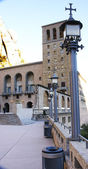 Streetlights in a square in the Monastery of Montserrat — Stock Photo