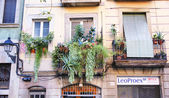 Balcony with pots in the district of La Ribera, Barcelona — Stockfoto