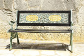 Bench in the architectural complex of Antonio Gaud El Garraf, Barcelona — Stock Photo