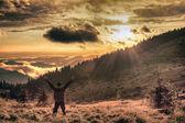 Joy in the misty mountains of Ukraine — Stock Photo