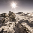 "Stock Photo: ""Black Mountain"" and sun in snowy UkrainiCarpathians"