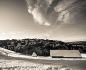 Ukrainian village in winter Carpathians.Panorama. — Stock Photo