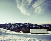 Ukrainian village in winter Carpathians. Panorama. — Stock Photo