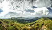Summer panorama of Carpathian Mountains.Panorama. — Stock Photo