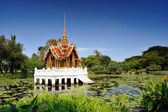 Thai pavilion in lotus pond at partly cloudy , Suan Luang Rama I — Photo