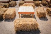 Table and straw chair. — Stock Photo