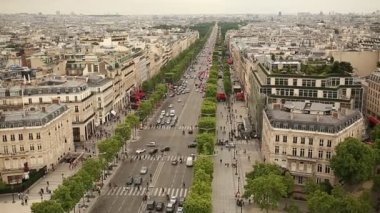 Champs Elysees in Paris France aerial view — Stock Video