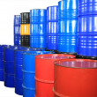Barrels of different colors — Stock Photo