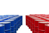 Red and blue barrels — Stock Photo