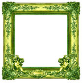 Green frame with angels — Stock Photo